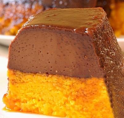 bolo pudim de chocolate com bolo de cenoura